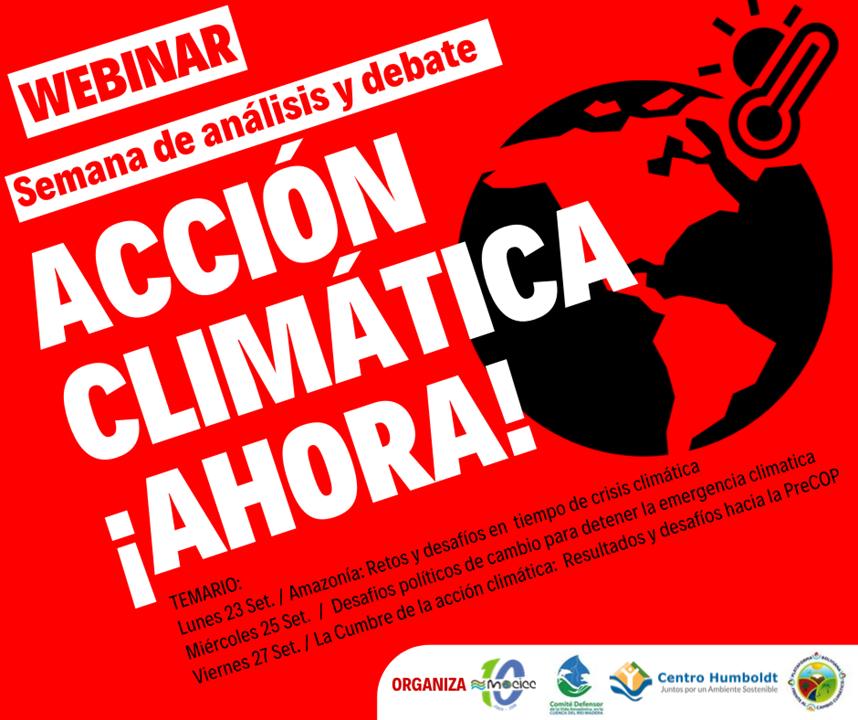 Semana de debate y análisis  Acción Climática ¡Ahora!